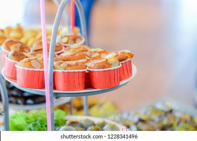Banana cupcake on stack cake plate.Dessert for party attendees.Copy space for add texts.Food and snack concept.