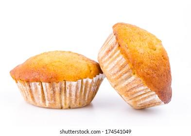 Banana cupcake on white background