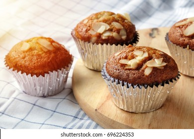 Banana cupcakes, very yummy and delicious banana cake and almond toping. Color filter and flare added.