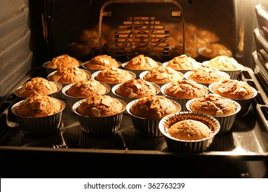 Banana cups cake in hot oven