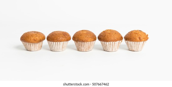 Banana cups cake isolated on white background.