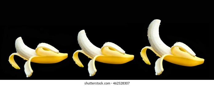 Banana different size small medium large on isolated black background