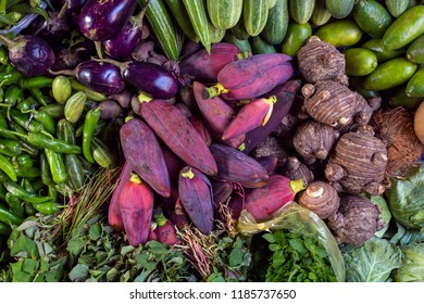 Banana flowers on a stall at the market in Meghalaya state, Northeast India