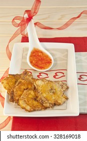 banana fried plantains with sour sauce, latin food, Mexican food