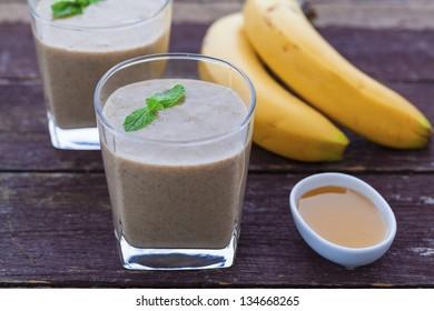 Banana, honey, maca powder and chia seed smoothie