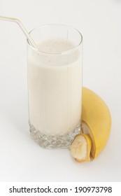 Banana juice with bananas closeup photo