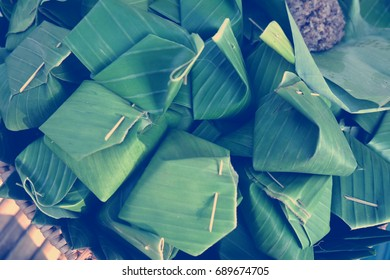 Banana leaf wrapped rice, thai food