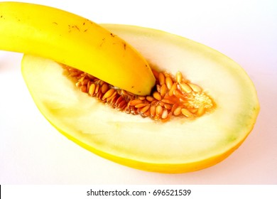 Banana and melon as a symbol of a penis without condom and a vagina