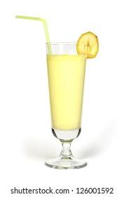 Banana milk shake and fresh fruit banana. Cocktail with milk. White isolated glass of milkshake.