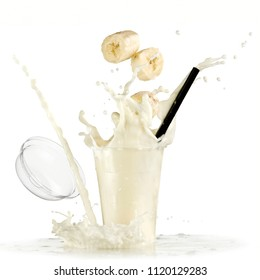 Banana milk smoothie splash