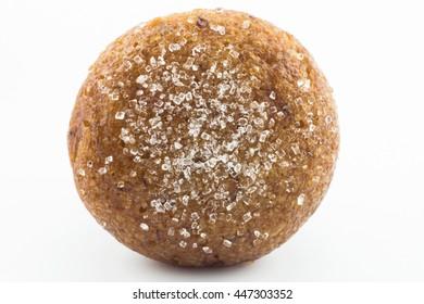 Banana muffin cake isolated on white background