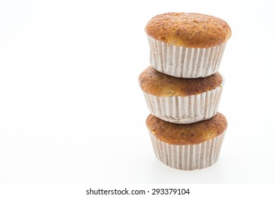 Banana muffin cupcakes isolated on white background