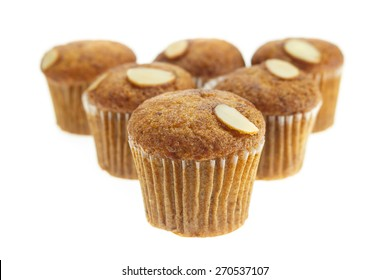 banana muffins topping with Cashew nuts on a white background
