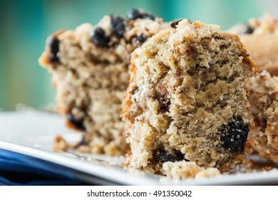 Banana Nut Muffin Close Up Served With Coffee For Breakfast On Vintage Rustic Wood Kitchen Table. Selective Focus With Copy Space.