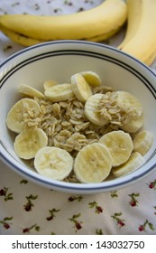Banana oatmeal served on a table
