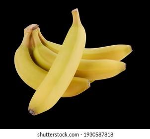 banana on black isoleted with clipping path