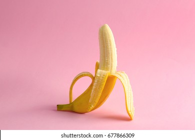 Banana on color background. Sex concept