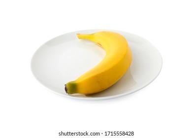 Banana, Banana on white plate, white background. Back angle shot (Tr- Muz) - Shutterstock ID 1715558428