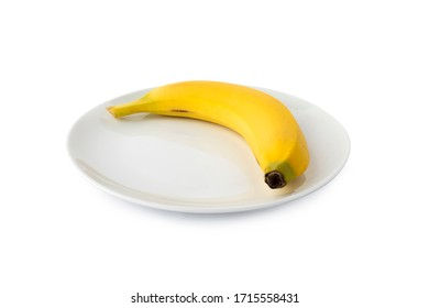 Banana, Banana on white plate, white background. Focus on middle point (Tr- Muz) - Shutterstock ID 1715558431