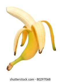 banana over white background