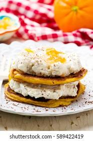 banana pancakes. with cream cheese glaze .selective focus