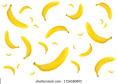 Banana pattern on a white isolated background.
