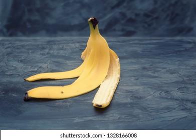 Banana peel on a dark background