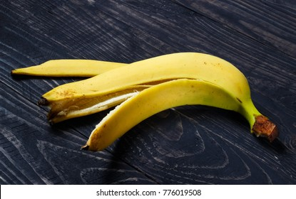 Banana peel on a dark background closeup