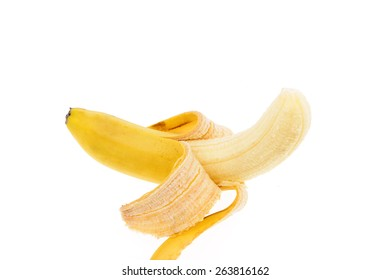 A banana peel on the white background