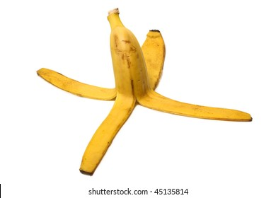 Banana peel on the white background close-up