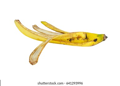 banana peel yellow bruised isolate on white background