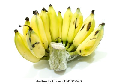 Banana preservation by plastic wrap with white blackground