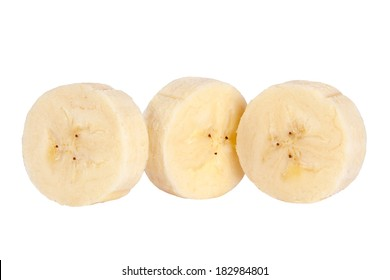 Banana round slice closeup isolated on white background