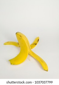 banana skin drop in white background isolated