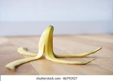 Banana skin on floor