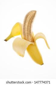 Banana Skin Peeled Back to Show Golden Fruit