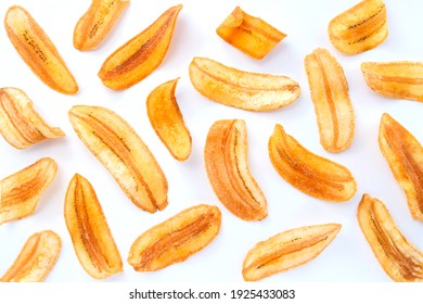 banana slice chips isolated on white background , top view , flat lay.