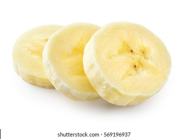 Banana slice. Heap isolated on white. With clipping path.