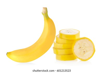 Banana slice isolated on white background