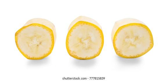 Banana slice isolated on white background