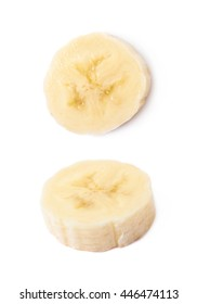 Banana slice isolated over the white background, set of two different foreshortenings