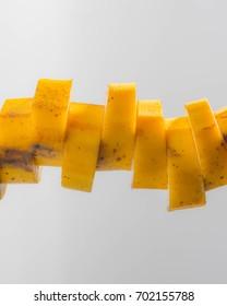 Banana sliced on isolated background