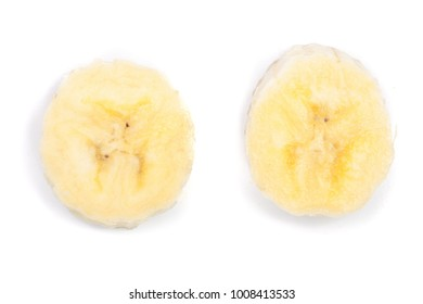 Banana slices isolated on a white background. Flat lay, top view