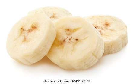 Banana slices isolated on white Clipping Path
