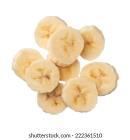 Banana slices isolated on white background, close up