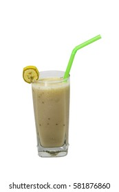 Banana smoothie on white background