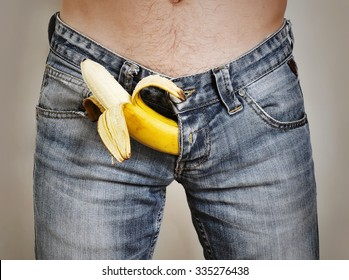 Banana sticking out of men's jeans