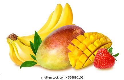 banana, strawberries  and  mango fruit isolated on white background