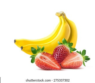 Banana strawberry composition isolated on white background as package design element