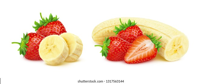 Banana and strawberry isolated on white background with clipping path, heap of strawberries and sliced peeled bananas